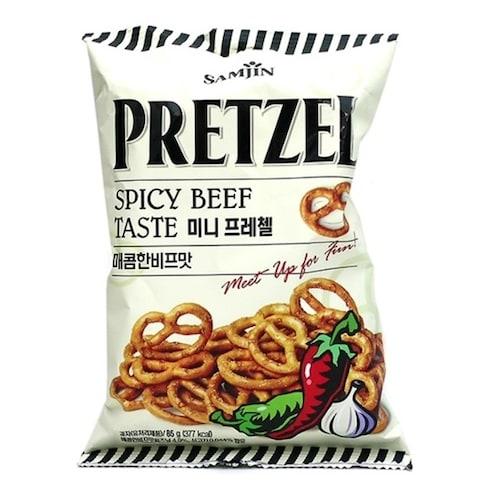 삼진(SAMJIN) 미니 프레첼 매콤한 비프맛 85g (12개)_이미지