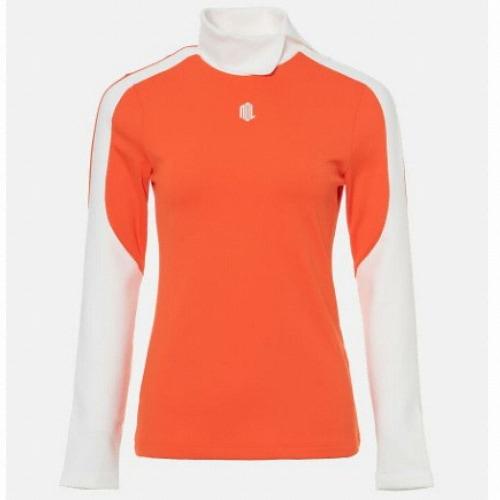 빈폴골프 여성 배색 슬릿 하이넥 티셔츠 BJ9941L498_이미지