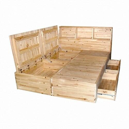 우드퍼니스 퍼니엔 삼나무 바닥수납형 침대 킹 (K) (매트별도 ...