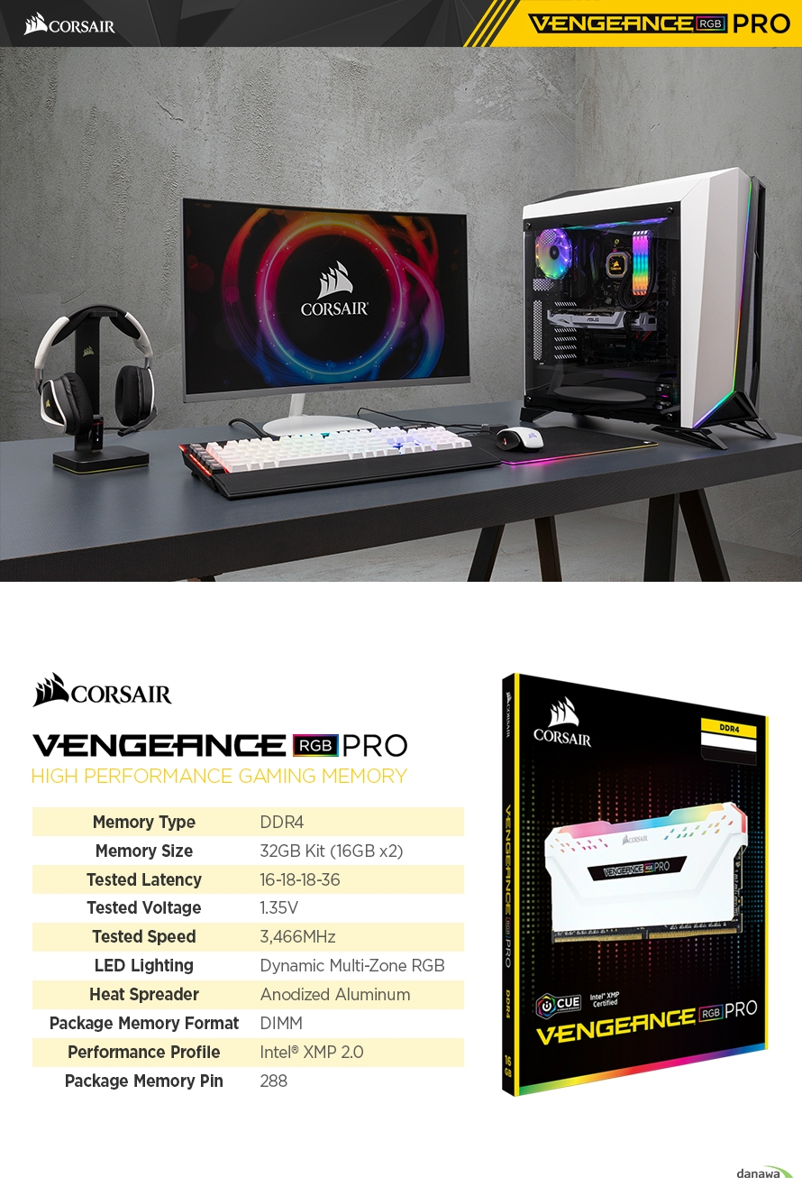 CORSAIR  DDR4 32G PC4-27700 CL16 VENGEANCE PRO RGB WHITE (16Gx2)