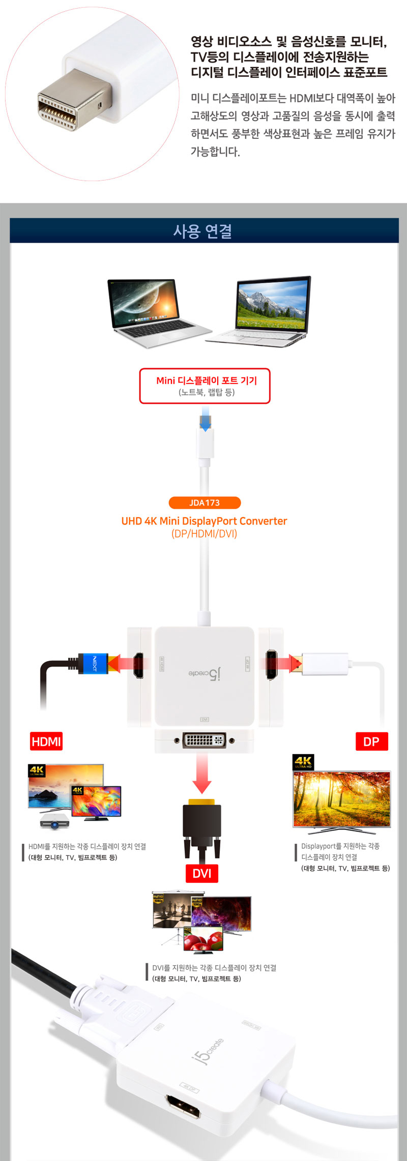 j5create  Mini DisplayPort 멀티 디스플레이 컨버터 (JDA173)