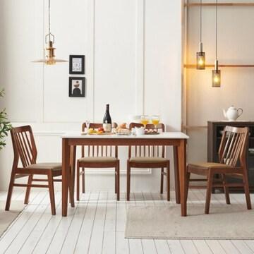 보니애가구 블랑코 통세라믹 원목 프레임 식탁세트 1200 (의자4개)_이미지