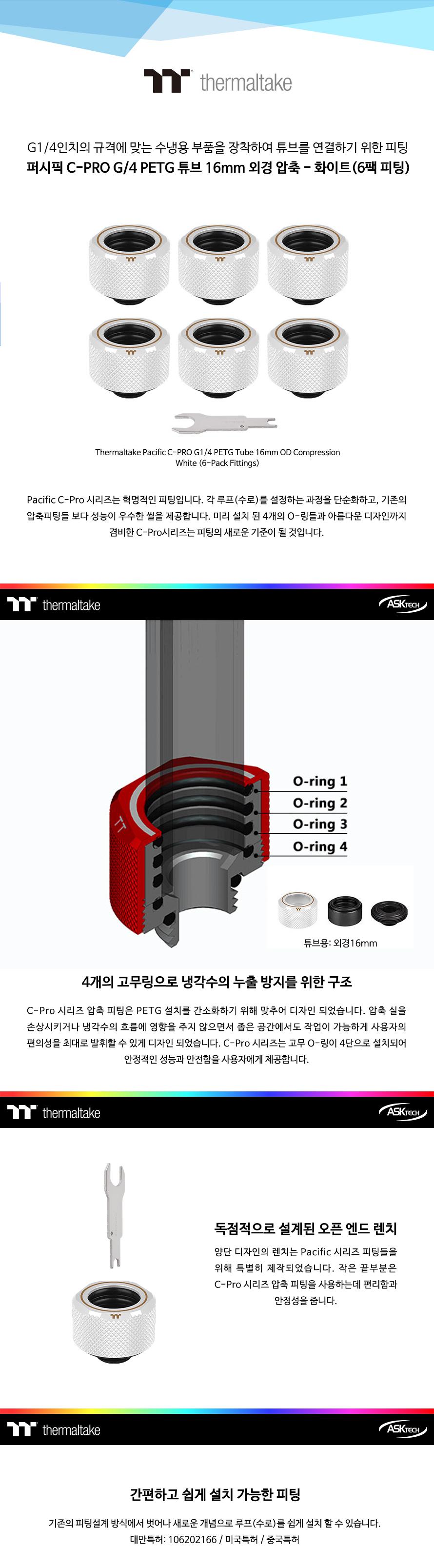 써멀테이크 Pacific C-PRO G14 PETG Tube 16mm 튜브 압축 (6팩)(화이트)