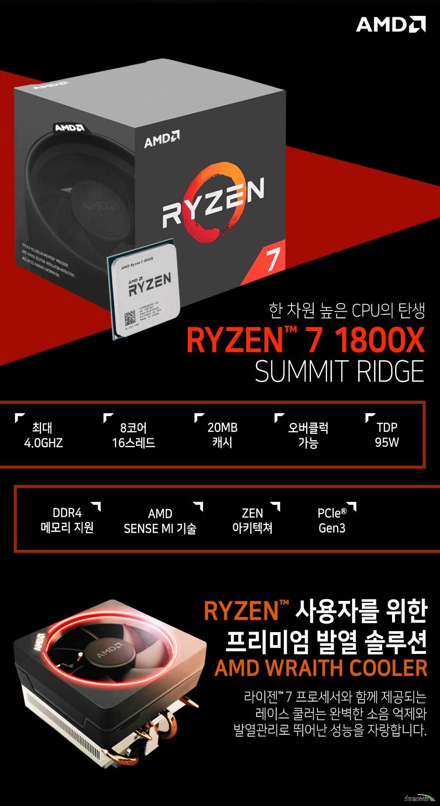 한 차원 높은 CPU의 탄생         RYZEN 7 1800X         SUMMIT RIDGE                  최대 4.0GHZ          8코어 16스레드         20MB 캐시         오버클럭 가능         TDP 95W         DDR4 메모리 지원         AMD SENSE MI 기술         ZEN 아키텍쳐         PCle Gen 3                  RYZEN 사용자를 위한 프리미엄 발열 솔루션         AMD WRAITH COOLER                  라이젠 7 프로세서와 함께 제공되는 레이스 쿨러는          완벽한 소음 억제와 발열관리로 뛰어난 성능을 자랑합니다.