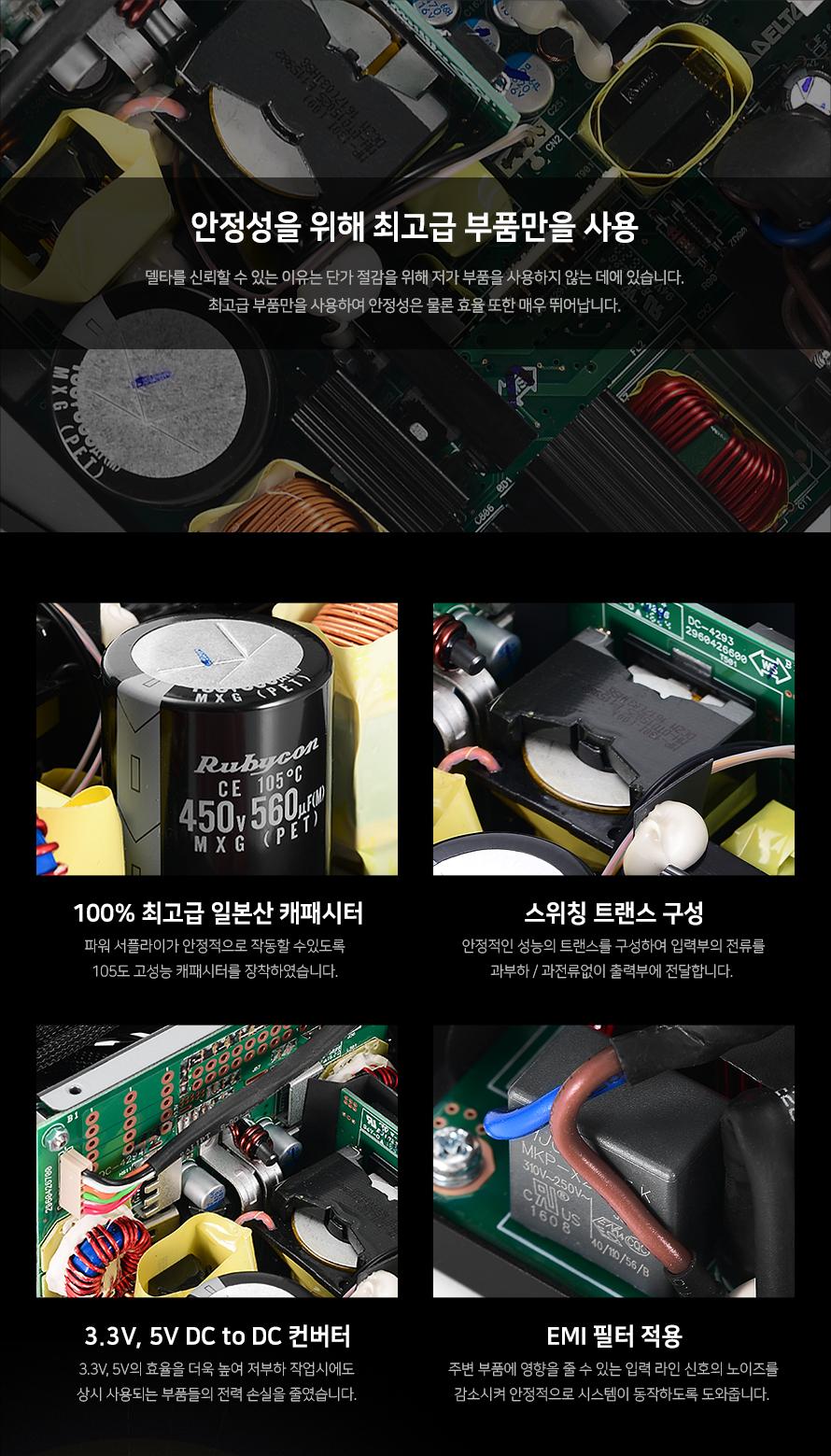 언제 어디서나 초고속 무선 네트워크 지원 안정성을 위해 최고급 부품만을 사용델타를 신뢰할 수 있는 이유는 단가 절감을 위해 저가 부품을 사용하지 않는 데에 있습니다.최고급 부품만을 사용하여 안정성은 물론 효율 또한 매우 뛰어납니다.100% 최고급 일본산 캐패시터파워 서플라이가 안정적으로 작동할 수있도록 105도 고성능 캐패시터를 장착하였습니다. 스위칭 트랜스 구성안정적인 성능의 트랜스를 구성하여 입력부의 전류를과부하 / 과전류없이 출력부에 전달합니다. 3.3V, 5V DC to DC 컨버터3.3V, 5V의 효율을 더욱 높여 저부하 작업시에도상시 사용되는 부품들의 전력 손실을 줄였습니다.EMI 필터 적용주변 부품에 영향을 줄 수 있는 입력 라인 신호의 노이즈를감소시켜 안정적으로 시스템이 동작하도록 도와줍니다.