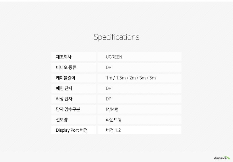 UGREEN DisplayPort 1.2 U-10 Series 케이블 (U-10211, 2m)