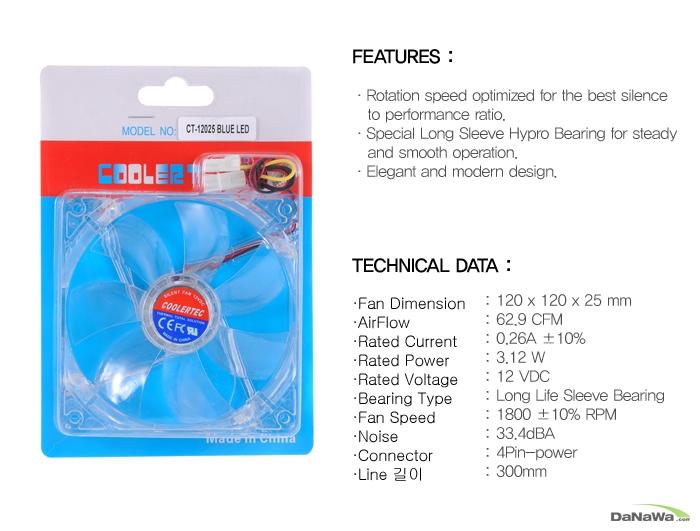 쿨러텍 CT-12025 BLUE LED의 제품 상세스펙