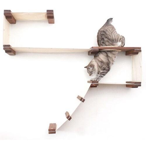 DIY 고양이 공간활용 원목 벽걸이 캣타워 벽 놀이터 C