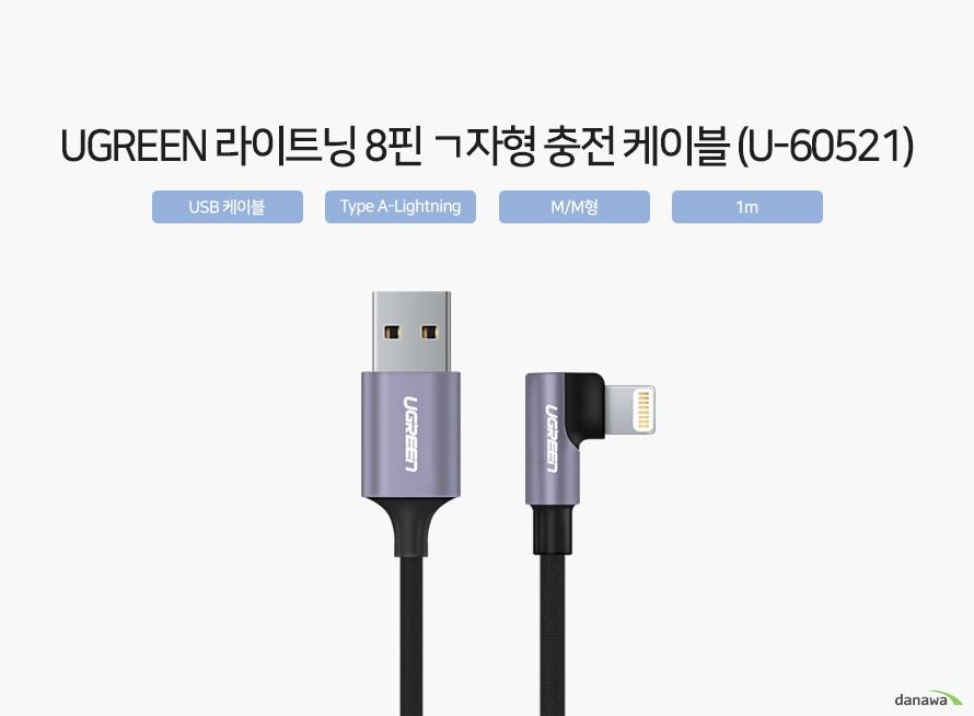 UGREEN 라이트닝 8핀 ㄱ자형 충전 케이블 (U-60521) USB 케이블  Type A-Lightning  M/M형  1m  USB Type A - Lightning USB Type A - Lightning  케이블은 한쪽은 USB Type A로, 다른 한쪽은 Lightning으로 구성되어 있습니다. USB Type A는 노트북, PC, 외장하드드라이브 등의 기기에 적용되어 있으며, Lightning 단자는 아이폰과 아이패드에 적용되어 있습니다. * 아이폰, 아이패드 제품 종류에 따라 Lightning 단자가 탑재되어 있지 않은 모델이 있으니 구매 전 확인해야 합니다.   USB Type A  Lightning  MFi 인증을 받은 애플 공식 인증 액세서리 애플에서 직접 검증한 애플 호환 액세서리에 대해 실시하는 인증 프로그램 입니다. 인증이 없어도 사용이 가능하지만 인증을 받은 경우 애플기기와 더 좋은 호환성을 보장합니다. * 애플 미인증 케이블은 아이폰 등  iOS 시스템 연결 시, 호환성 및 안전성이 보장되지 않습니다.    ※ 본 자료의 저작권은 (주)다나와에 있으며, 동의 없이 사용하거나 복제 및 가공 시 법에 의한 처벌을 받을 수 있습니다.   데이터 전송 스마크폰, 태블릿, PC, 노트북, 외장하드드라이브 등을 서로 연결하여 데이터를 전송할 수 있습니다.  충전 스마크폰, 태블릿, 휴대용 배터리 등을 충전 어댑터와 연결하여 충전할 수 있습니다.
