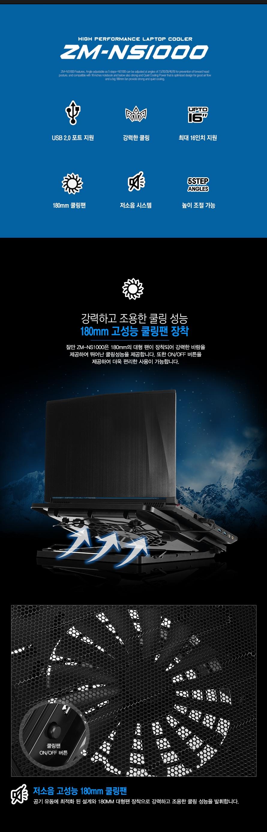 ZM-NS1000 특장점 USB 2.0 포트 강력한 쿨링 최대 16인치 지원 180mm 쿨링팬 저소음 높이조절 잘만 ZM-NS1000은 180mm의 대형 팬이 장착되어 강력한 바람을 제공하여 뛰어난 쿨링성능을 제공합니다. 또한 ON/OFF 버튼을 제공하여 더욱 편리한 사용이 가능합니다.