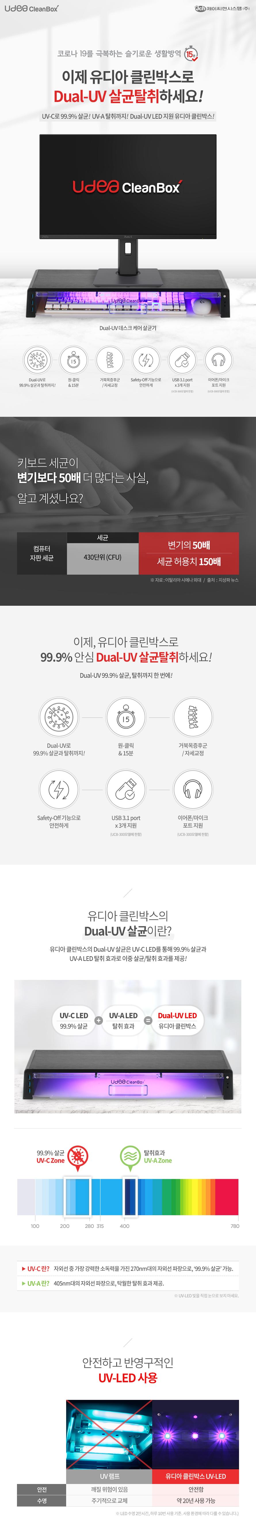 제이씨현 UDEA 클린박스 UCB-300 Dual-UV 살균 모니터 받침대