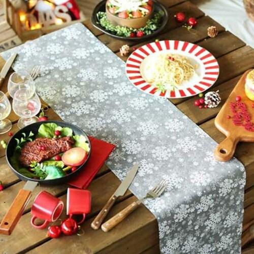 파티해 크리스마스 설정 그레이 테이블 러너 (28x275cm)_이미지