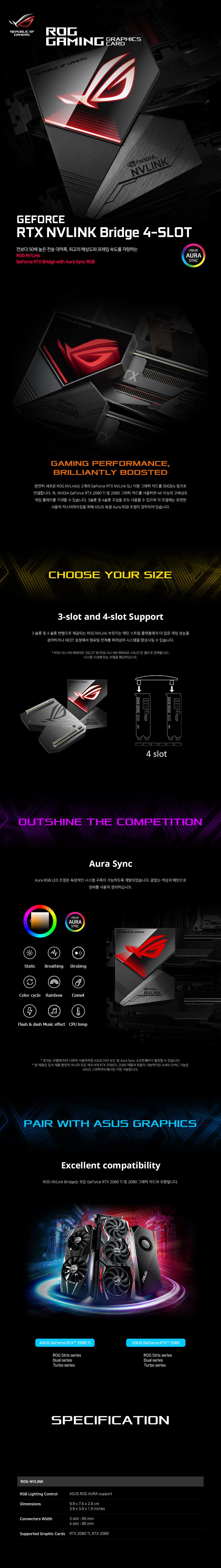 ASUS ROG STRIX NV링크 브릿지 4-Slot