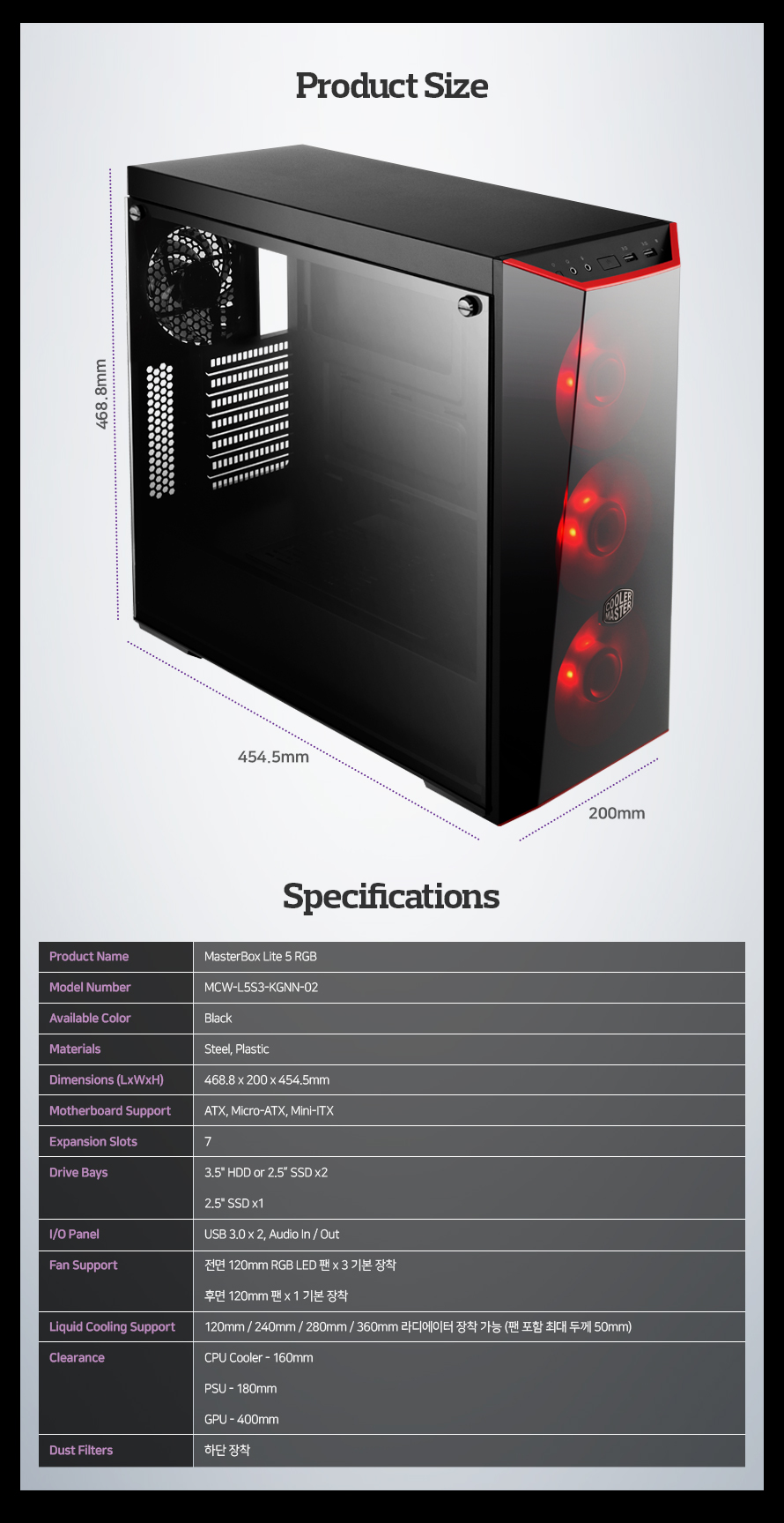 Product Name MasterBox Lite 5 RGBModel Number MCW-L5S3-KGNN-02Available Color BlackMaterials Steel, PlasticDimensions (LxWxH) 468.8 x 200 x 454.5mmMotherboard Support ATX, Micro-ATX, Mini-ITXExpansion Slots 7Drive Bays 3.5인치 HDD or 2.5인치 SSD x2 2.5인치 SSD x1I/O Panel USB 3.0 x 2, Audio In / OutFan Support 전면 120mm RGB LED 팬 x 3 기본 장착 후면 120mm 팬 x 1 기본 장착 120mm / 240mm / 280mm / 360mm 라디에이터 장착 가능 (팬 포함 최대 두께 50mm)Liquid Cooling Support CPU Cooler - 160mmClearance PSU - 180mm GPU - 400mmDust Filters 하단 장착