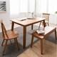 헤이미쉬 헤나 엘 고무나무 원목 식탁세트 1200 (의자2개+벤치1개)_이미지