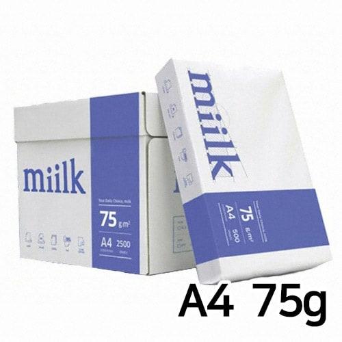 한국제지  밀크 복사용지 A4 75g 500매 (5개, 2500매)_이미지