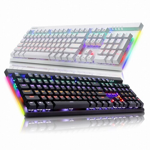 ABKO HACKER K640 플러스 축교환 측면 LED 게이밍 키보드 (블랙, 청축)_이미지