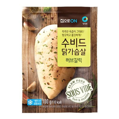 대상 청정원 집으로ON 수비드 닭가슴살 허브갈릭 100g (6개)_이미지