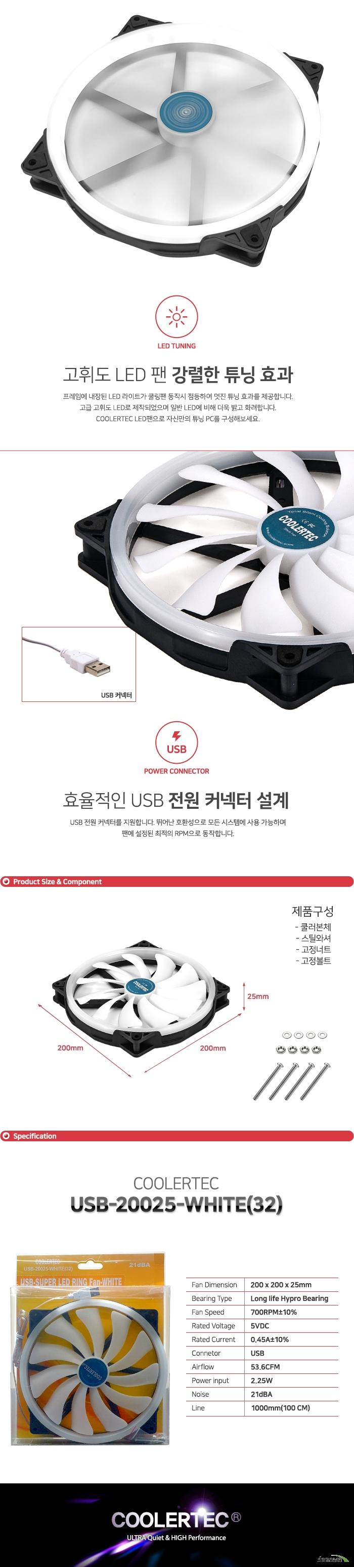 COOLERTEC USB-20025-WHITE(32)