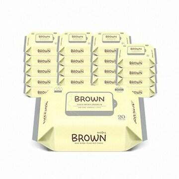 청호클렌징 브라운 프리미엄 엠보싱 물티슈 휴대리필형 20매(12팩, 240매)