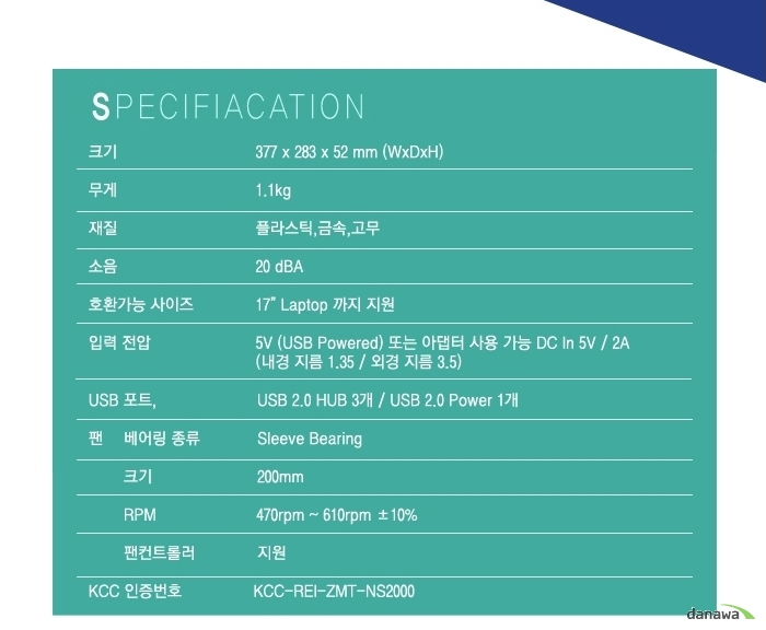 SPECIFIACATION 크기 377 x 283 x 52 mm (WxDxH) 무게 1.1kg 재질 플라스틱, 금속, 고무 소음 20dBA 호환가능 사이즈 17 Laptop까지 지원 입력 전압 5V (USB Powered) 또는 어댑터 사용 가능 DC In 5V / 2A (내경 지름 1.35 / 외경 지름 3.5)USB 포트 USB 2.0 HUB 3ro / USB 2.0 Power 1개 팬 베어링종류 Sleeve Bearing    크기 200mm    RPM 470rpm ~ 610rpm +-10퍼센트%    팬컨트롤러 지원 KCC 인증번호 KCC-REI-ZMT-NS2000