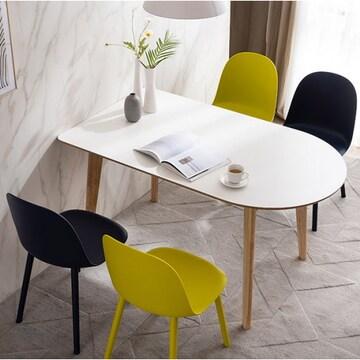 웨스트프롬 모던 에스메랄다 원목 반타원 식탁세트 1400 (의자2개+벤치1개)_이미지