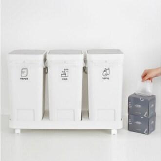홈앤하우스 원터치 3칸 분리수거함 + 비닐봉투 20L 100매_이미지