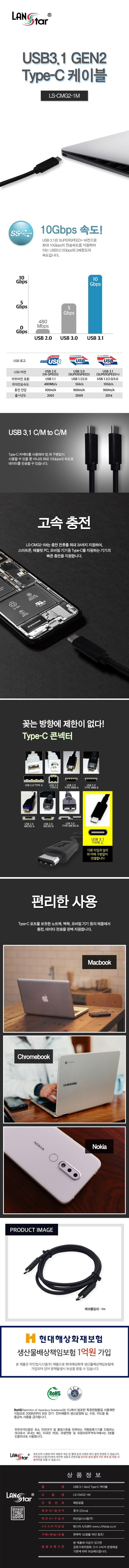 라인업시스템 LANSTAR USB 3.1 Type C to C 케이블 (1m)