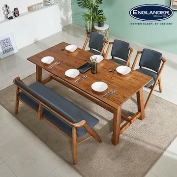 잉글랜더  칸쿤 원목 식탁세트 1900 (의자3개+벤치1개)