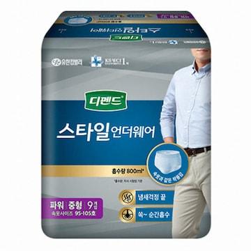 유한킴벌리 디펜드 스타일 언더웨어 남성용 파워 중형 9개(1팩(9개))