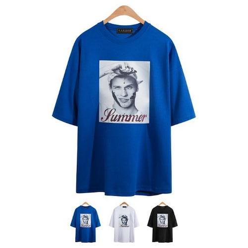 비케이커머스 모니즈 루즈핏 특양면 전사 반팔 티셔츠 TSB748_이미지