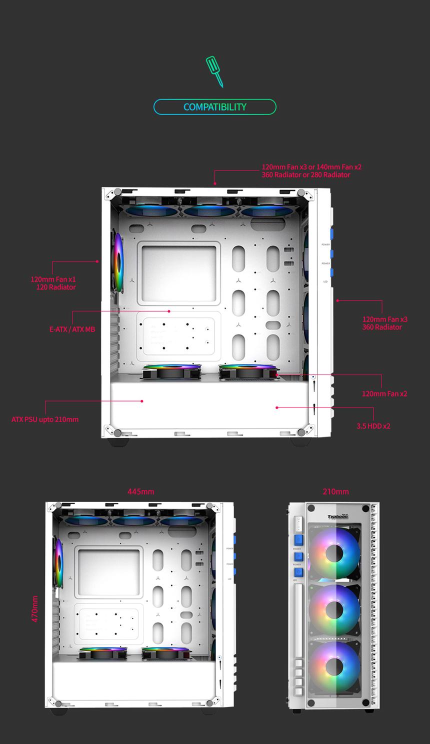 다얼유 태풍의눈 강화유리 RGB 화이트