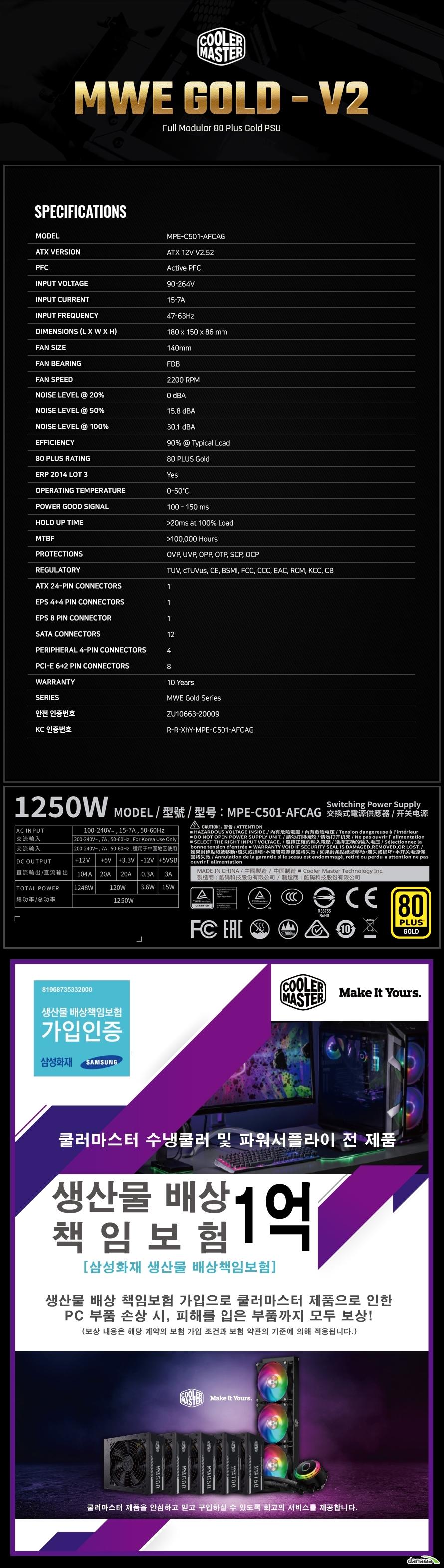 쿨러마스터 MWE GOLD 1250 V2 FULL MODULAR