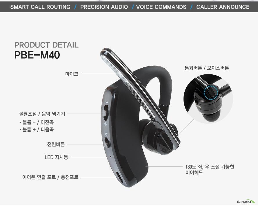 smart call routing precision audio voice commands caller announce product detail pbe-m40 3중 마이크 볼륨조절 음악넘기기 볼륨- 이전곡 볼륨 + 다음곡 전원버튼 led 지시등 이어폰 연결 포트 충전포트 통화 버튼 보이스 버튼 180도 좌우 조절가능한 이어헤드