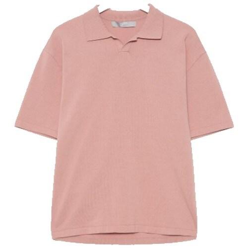 에잇세컨즈 핑크 코튼 오픈 칼라 반팔 니트 420351CY8X_이미지