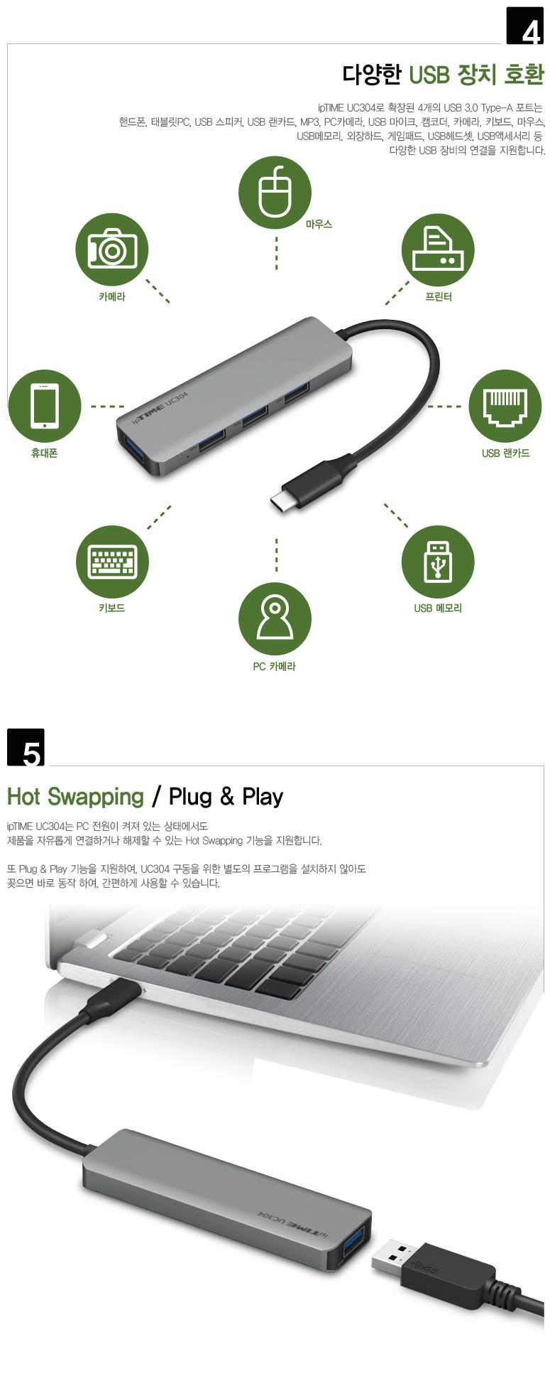 EFM ipTIME UC304 (4포트/USB 3.0 Type C)