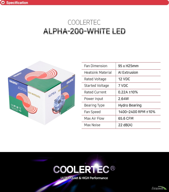 COOLERTEC  ALPHA-200-WHITE LED