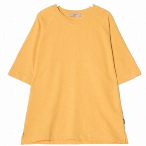 에잇세컨즈 남성 옐로우 코튼 솔리드 5부 티셔츠 269342C11E_이미지
