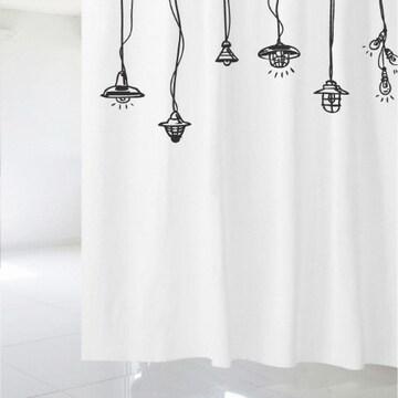 수풀 샤워커튼 빈티지 램프(샤워커튼+커튼고리)