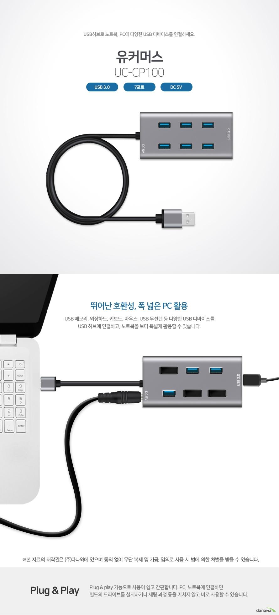 USB 허브로 노트북, PC에 다양한 USB 디바이스를 연결하세요 유커머스 UC-CP100 USB 3.0 / 7포트 / DC 5V 뛰어난 호환성, 폭 넒은 PC 활용 USB 메모리, 외장하드, 키보드, 마우스, USB 무선랜 등 다양한 USB 디바이스를 USB 허브에 연결하고, 노트북을 보다 폭넓게 활용할 수 있습니다. Plug & play 기능으로 사용이 쉽고 간편합니다. PC, 노트북에 연결하면 별도의 드라이브를 설치하거나 세팅 과정 등을 거치지 않고 바로 사용할 수 있습니다.