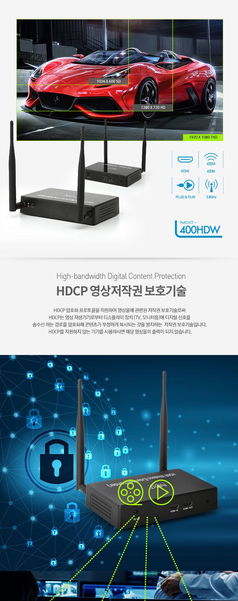 이지넷유비쿼터스  1:4 HDMI 무선 거리 연장기 (NEXT-400HDW)