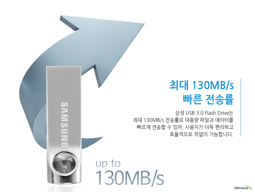 최대 130MB/s 빠른 전송률삼성 USB 3.0 Flash Drive는 최대 130MB/s 전송률로 대용량 파일과 데이터를 빠르게 전송할 수 있어, 사용자가 더욱 편리하고 효율적으로 작업이 가능합니다. up to 130MB/s