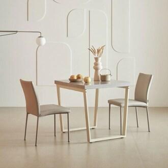 한샘 프레임 스틸 대리석 식탁세트 850 (의자2개)_이미지