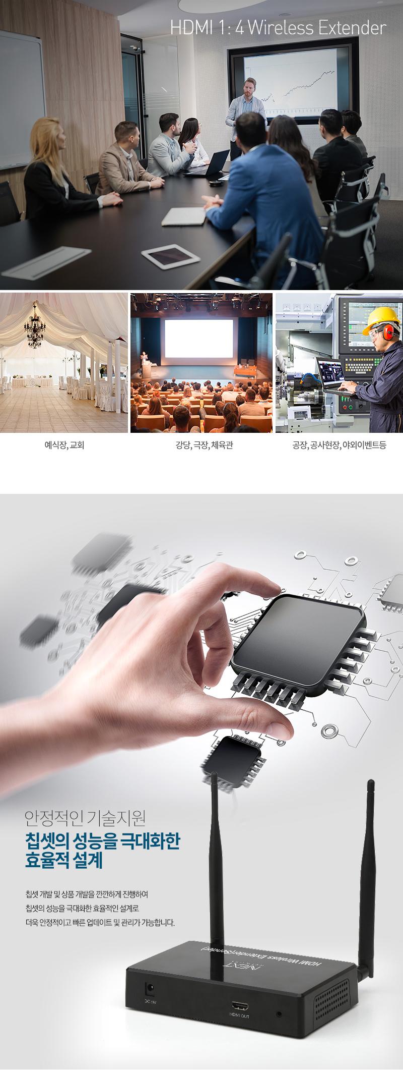 이지넷유비쿼터스  1:4 HDMI 무선 거리 연장기 리시버 (NEXT-400HDW-R)