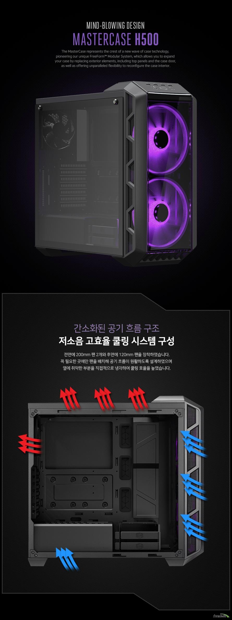 쿨러마스터  MasterCase H500 RGB 강화유리