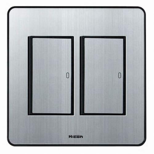 현대일렉트릭 하이콘80 2구 2개용 스위치 실버_이미지