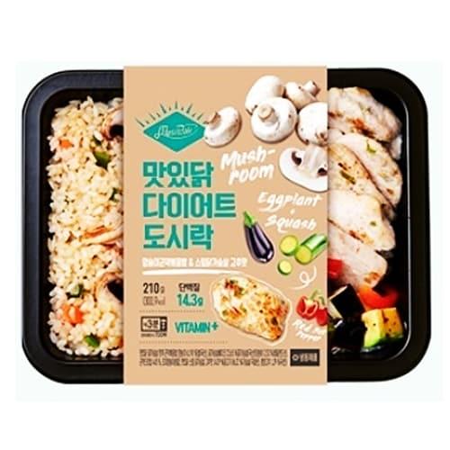 푸드나무 맛있닭 다이어트 도시락 양송이곤약볶음밥&스팀닭가슴살 고추맛 210g (5개)_이미지