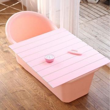 이수욕조 쉼표 하나 핑크 반신욕조(온도계 시계 풀세트)