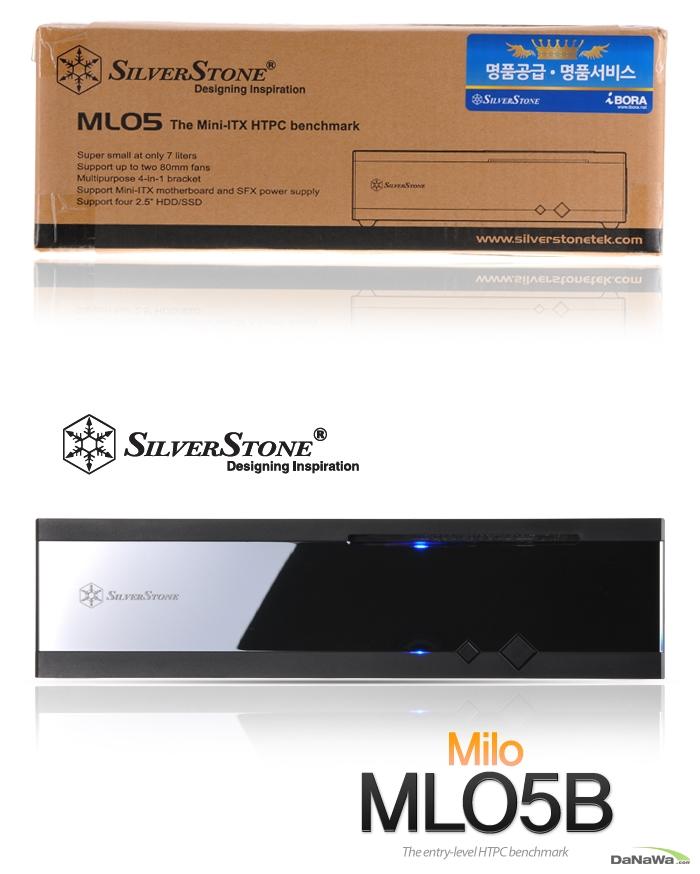 SILVERSTONE Milo ML05B iBORA 제품 박스 정면 이미지 및 제품 정면 이미지