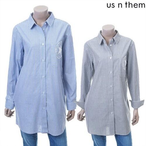 더휴컴퍼니 어스앤뎀 여성 스트라이프 롱 셔츠 TASA150_이미지